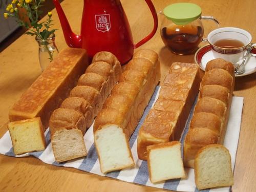 4種の食パンと、冷やしクリームパン2個、オリジナルコーヒー、ラスクのセット