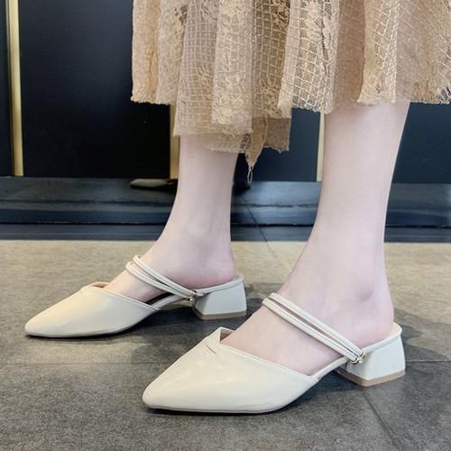 【シューズ】ファッションPUローヒールサンダル