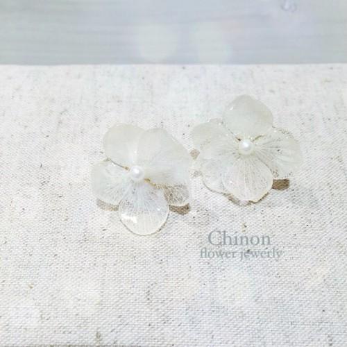 Chinon flower jewelry あじさいパールイヤリングウエディング