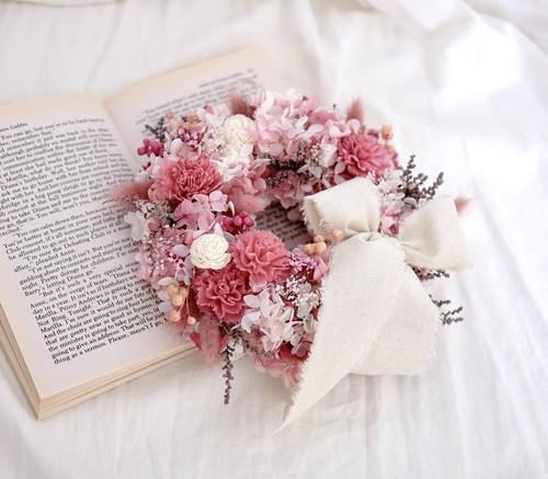 【送料無料】幸せを届ける可愛いピンクリース