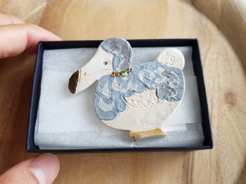 Ceramic Dodo bird brooch (with beads)