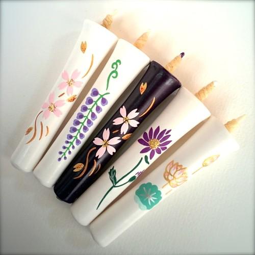 【送料無料】2号5本入 流水桜・藤・都忘れ・蓮の和ろうそく