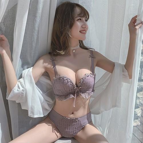 (A-Bカップ)【下着セット】セクシーレースリボン無地ブラ・ショーツセット24529277
