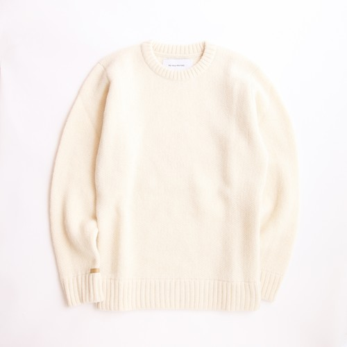 THE INOUE BROTHERS/Solid Jacquard/Crew Neck Sweater/Ecru
