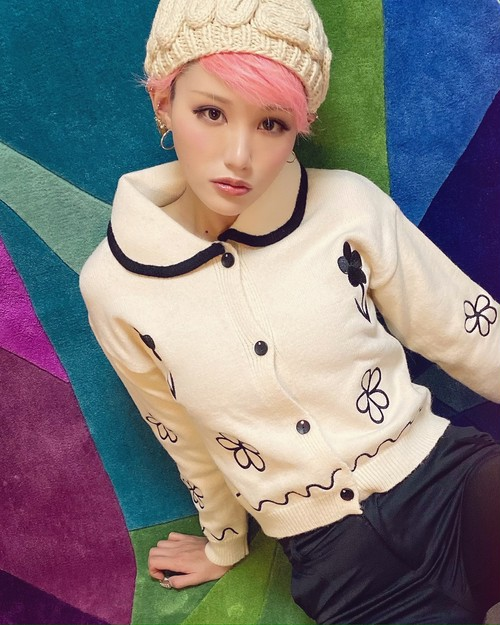 flower Embroidery mohair Knit