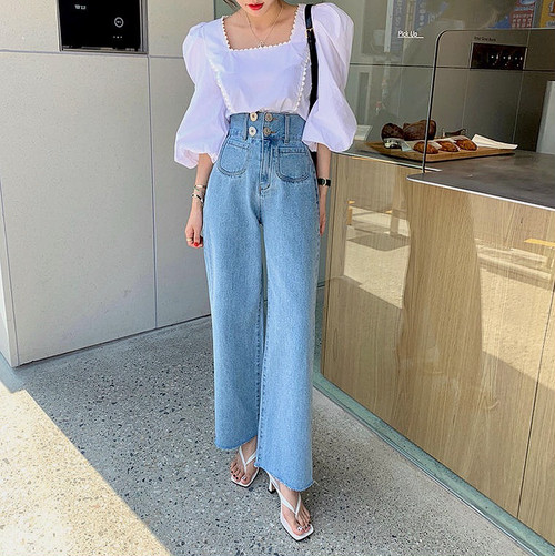 high waist button pants