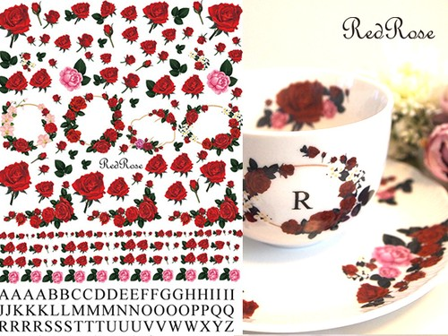 レッドローズ転写紙 RedRose(ポーセラーツ用 薔薇転写紙)