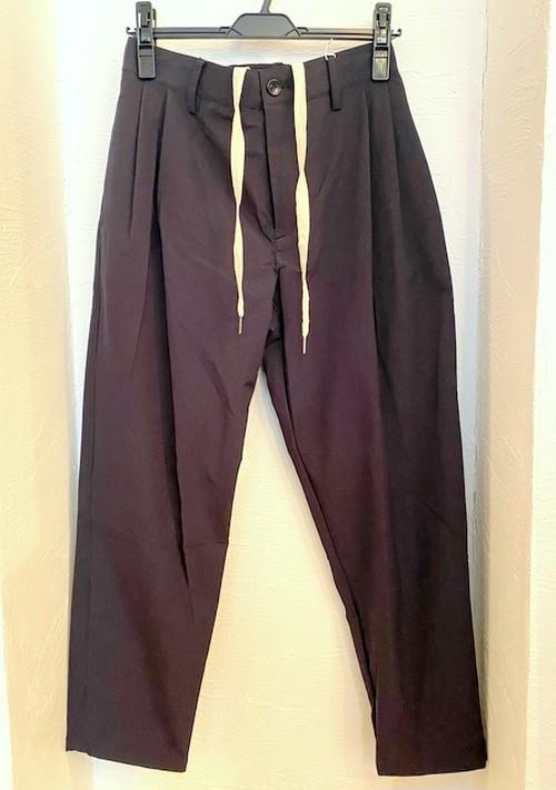 Stretch Nylon Tuck Cropped Pants Dark Indigo