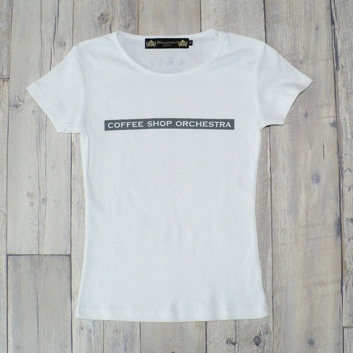 """【Alpha Betti Cafe×HAMATOLA!】collab Line """"Coffee Shop Orchestra""""    Womens T-Shirts (White)"""