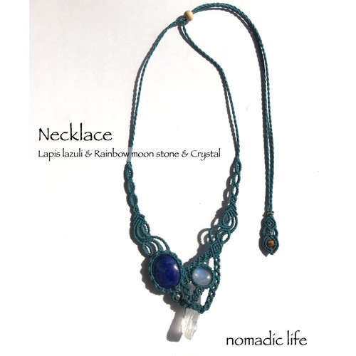 Lapis lazuli & Rainbow moon stone & Crystal Necklace//No.135