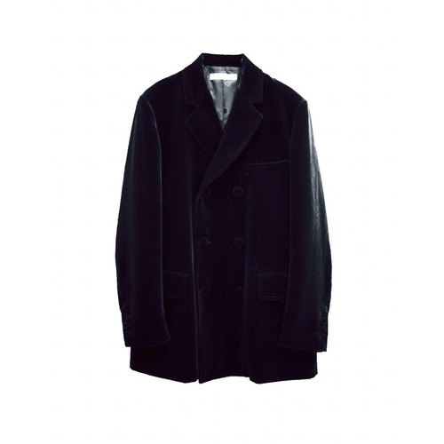 TTT_MSW VELOUR DOUBLE-BRESTED JACKET BLACK
