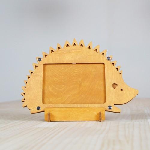 「はりねずみ」木製写真立て(L判サイズ用)フォトフレーム インテリア