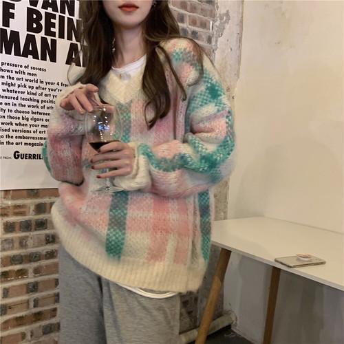 VネックBIGチェックセーター #RD7402