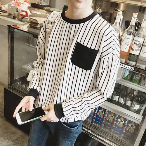 トレーナー/Tシャツ/ロンT/ストライプ/シャツ/メンズ/デザインTシャツ/春/秋