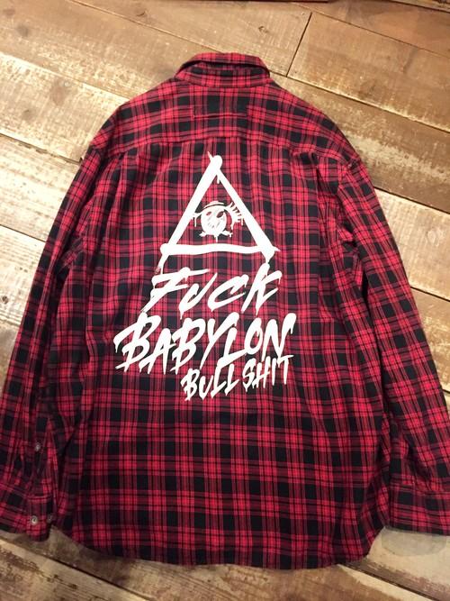 『FUCK BABYLON』ネルシャツ size XL 1点物