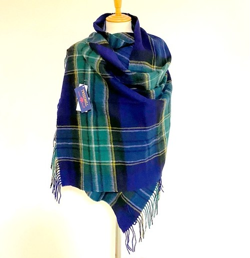【TWEEDMILL】Lambswool Blanket Stole with Pin(Knee Rug) Check Emerald/ Navy Check
