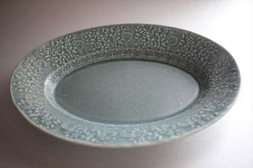 中川洋子|オーバル陽刻中皿 ブルーグレー
