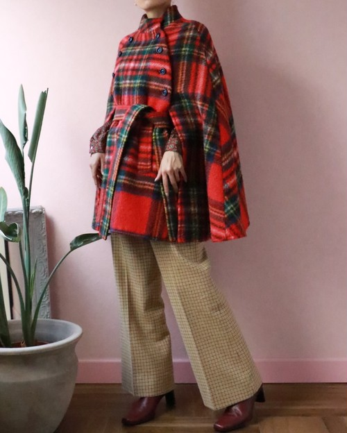 60s red checked manteau