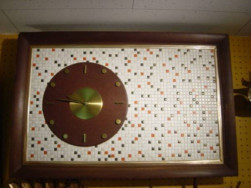 Mid Century Tile-Top Clock