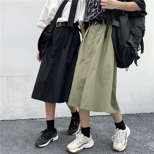 【ボトムス】レトロゆったりベルト付き無地中長Aラインスカート23011456