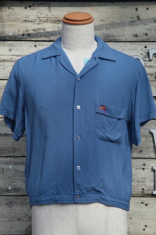 古着ヴィンテージボウリングシャツ(ボーリングシャツ)50'sHilton黒タグ Mサイズ レーヨン チェーンステッチ【US-SS-01】
