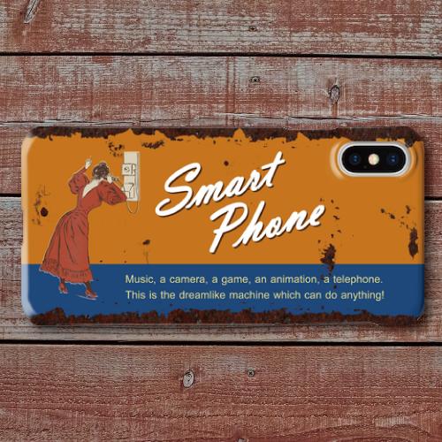 レトロポスター/アメリカンブリキ看板調/ヴィンテージ看板調/スマートフォン/オレンジ・ブルー/iPhoneスマホケース(ハードケース)