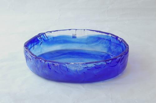 日本製 手づくりガラス 楕円水盤(花器) ルリ