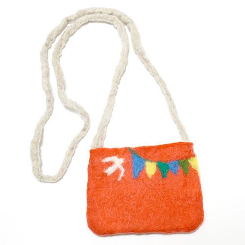 【SALE! 40%off】いわぼり 羊毛ポシェットS・オレンジ