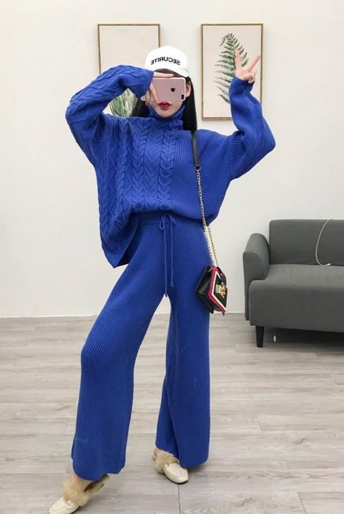 【送料無料】ニットセットアップ ニット 鍵編み スーツ ブルー レッド ホワイト ブラック