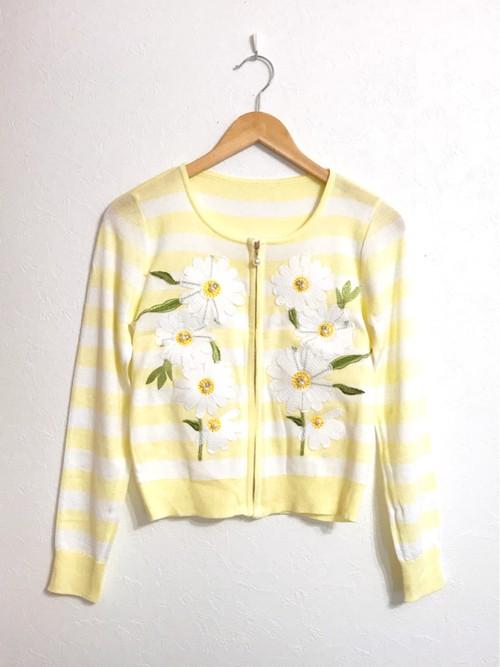 デイジー刺繍&ボーダーのジップアップカーディガン レモン