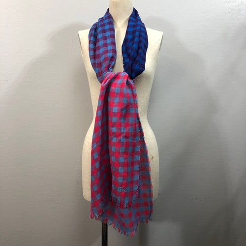 .LOUIS VUITTON CHECK PATTERNED LARGE SIZE SHAWL MADE IN ITALY/ルイヴィトンチェック柄大判ショール(ストール) 2000000038629