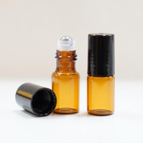 【遮光性 ロールオンボトル】3ml ブラウン ガラス 黒キャップ 携帯 化粧 アロマ 器材 旅行 詰替 容器