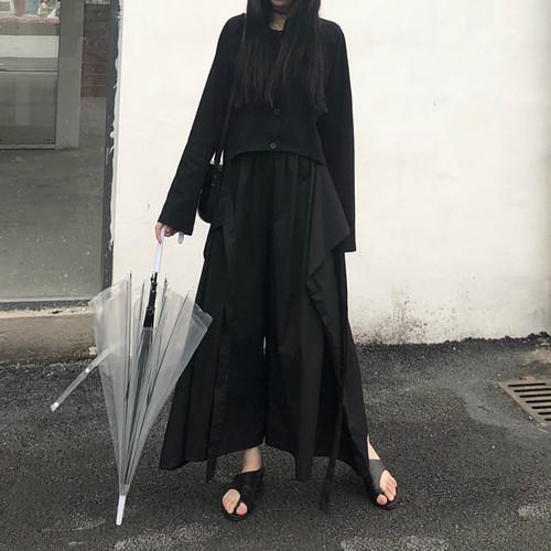 [数量限定]3way black wide pants