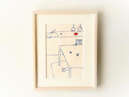 「キッチンと犬」イラスト原画/額縁入り