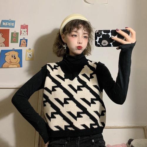【セットアップ】【単品注文】韓国ファッション学生ニットベスト/ハイネック長袖Tシャル2点セット24001570