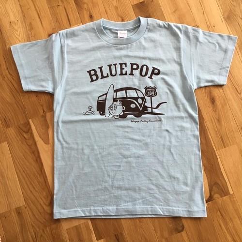 【売り切れ】 ブルーポップ車Tシャツ(ライトブルー)半袖 ヘビーウエイト