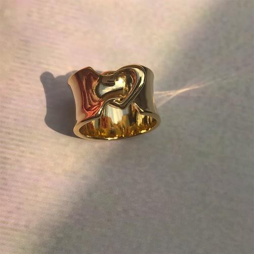 ribbon LOVE RING 幅広 #00614 gold りぼんラブリング幅広/ゴールド