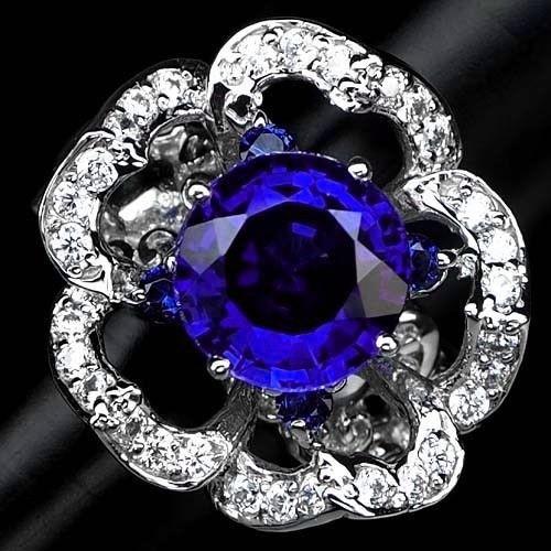独特な花柄デザイン! 6.1ct サファイア リング 指輪 14号 アフリカ産
