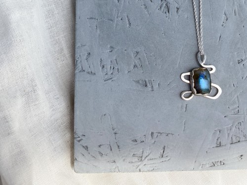 〈vintage silver925〉design stone necklace
