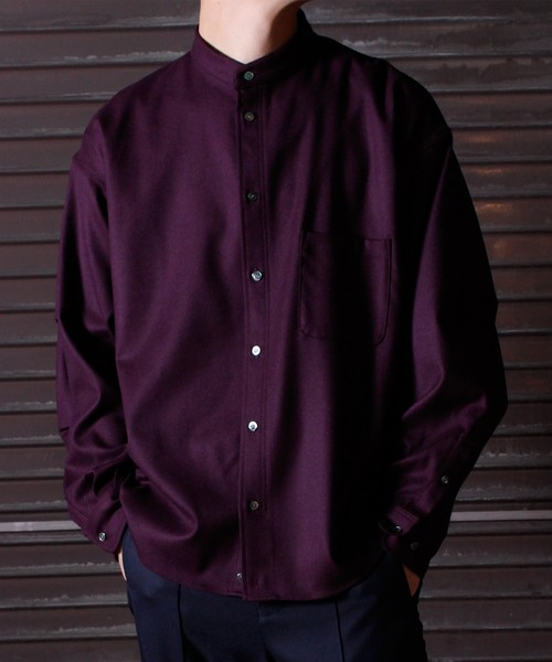 Military Sleeve Band Collar Shirt -bordeaux <LSD-BJ3S1>