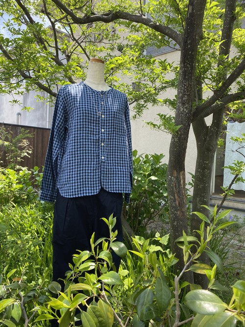 pritフレンチリネンギンガムチェックバンドカラーワイドシャツ