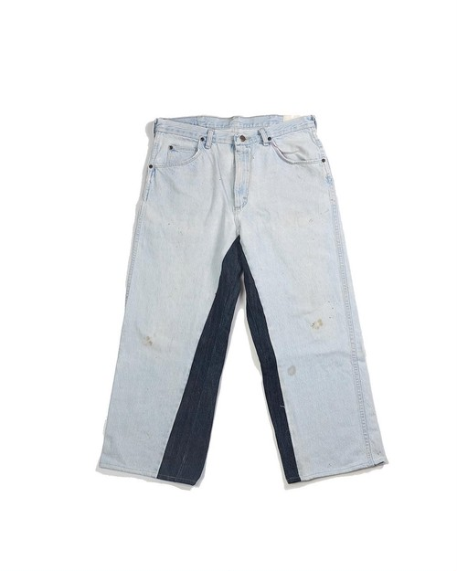 remake denim wide pants (ice×navy)
