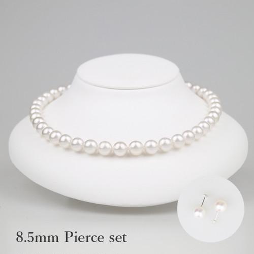 白妙85P-set(Shirotae)【Akoya8.0-8.5mm】Necklace & Pierce Set