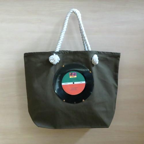 マリントートバッグ「bagu」本物のレコード カーキ  大きめトートバッグ MT-001K
