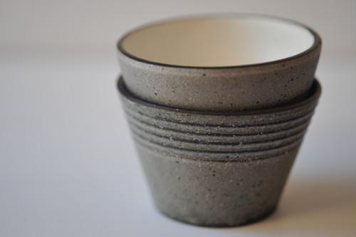 0370 沖誠 炭化ボーダー デザートカップ