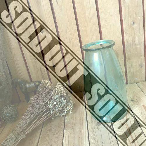 ヴィンテージ*古い大きな牛乳瓶の様なガラス瓶H35cm*硝子瓶*花瓶フラワーベース花器古道具*気泡ゆらゆら*ビンテージレトロアンティーク収納