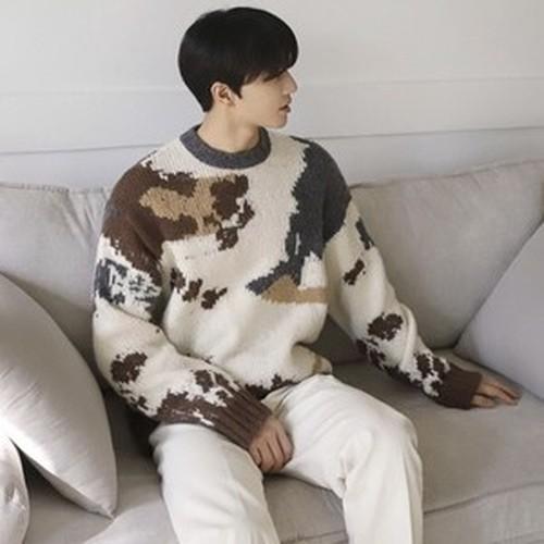 [韓国メンズファッション]41900823 ウィンターシックレトロセーター レトロ感 セーター 丸襟 レトロセーター 柄セーター カジュアル