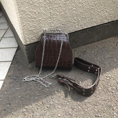 b014_2way croco がま口 bag