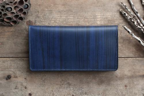 藍染革[migaki]長財布【墨縞】