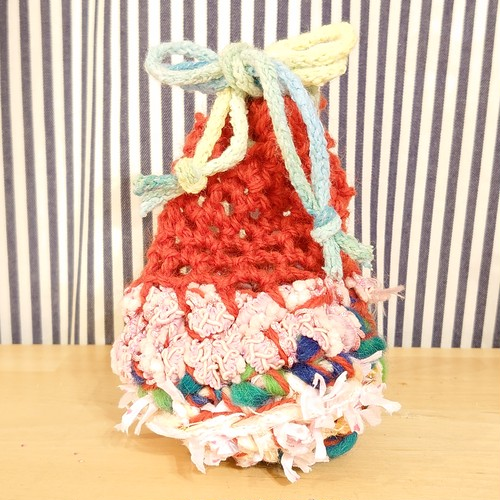 手編みアート巾着ポーチ
